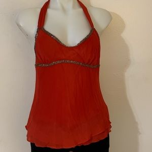 Rosh Rust beaded blouse Sz Small